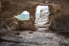 Uit de oude holen, steenmuren royalty-vrije stock foto