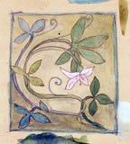 Uit de vrije hand bloemenwatercolour Stock Afbeeldingen