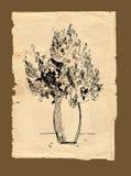 Uit de vrije hand tekeningsboeket op oud document Stock Foto