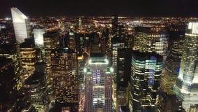 Uit het stadscentrum Manhattan bij nacht Stock Afbeelding