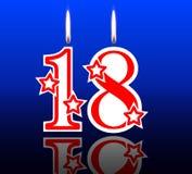 18 uit verjaardagskaarsen Stock Foto's