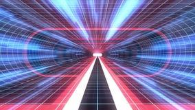 In uit vlucht door van het het neon BLAUWE net van VR de RODE van de de lichten cyber tunnel BLAUWE van de de interfacemotie van  stock illustratie