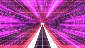 In uit vlucht door van het het neon BLAUWE net van VR RODE van de de lichten cyber tunnel PURPERE van de de interfacemotie van HU royalty-vrije illustratie