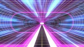 In uit vlucht door van het het neon GELE net van VR PURPERE van de de lichten cyber tunnel BLAUWE van de de interfacemotie van HU vector illustratie