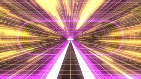 In uit vlucht door van het het neon GELE net van VR PURPERE van de de lichten cyber tunnel GELE van de de interfacemotie van HUD  vector illustratie