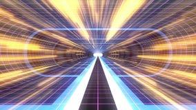 In uit vlucht door van het het neon PURPERE net van VR BLAUWE van de de lichten cyber tunnel GELE van de de interfacemotie van HU stock illustratie