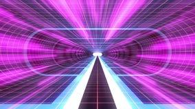In uit vlucht door van het het neon RODE net van VR BLAUWE van de de lichten cyber tunnel PURPERE van de de interfacemotie van HU royalty-vrije illustratie