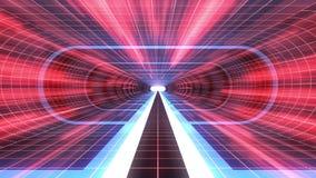 In uit vlucht door van het het neon RODE net van VR de BLAUWE van de de Rode lichten cyber tunnel van de de interfacemotie van HU royalty-vrije illustratie