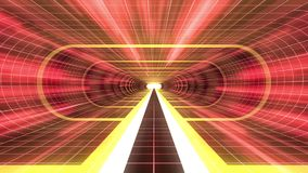 In uit vlucht door van het het neon RODE net van VR de GELE van de de Rode lichten cyber tunnel van de de interfacemotie van HUD  stock illustratie