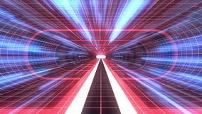 In uit vlucht door van het het neon RODE net van VR de RODE van de de lichten cyber tunnel BLAUWE van de de interfacemotie van HU vector illustratie
