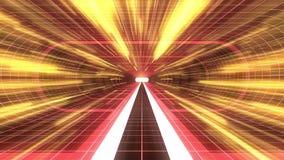 In uit vlucht door van het het neon RODE net van VR de RODE van de de lichten cyber tunnel GELE van de de interfacemotie van HUD  stock illustratie