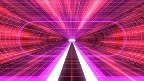 In uit vlucht door van het het neon RODE net van VR de PURPERE van de de Rode lichten cyber tunnel van de de interfacemotie van H vector illustratie