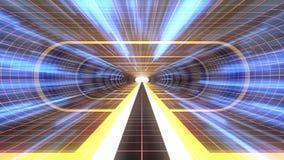 In uit vlucht door van het het neon RODE net van VR GELE van de de lichten cyber tunnel BLAUWE van de de interfacemotie van HUD d stock illustratie