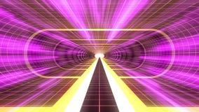 In uit vlucht door van het het neon RODE net van VR GELE van de de lichten cyber tunnel PURPERE van de de interfacemotie van HUD  vector illustratie