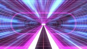 In uit vlucht door van het het neon RODE net van VR PURPERE van de de lichten cyber tunnel BLAUWE van de de interfacemotie van HU stock illustratie