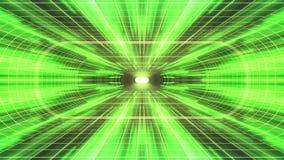 In uit vlucht door VR-van de de GROENE lichten cyber tunnel van het neon de GELE net van de de interfacemotie van HUD achtergrond royalty-vrije illustratie