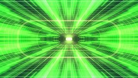 In uit vlucht door VR-van de de Groene lichten cyber tunnel van het neon de Groene net van de de interfacemotie van HUD achtergro stock illustratie