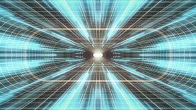 In uit vlucht door VR-van de de lichten cyber tunnel van het neon de GELE net BLAUWE van de de interfacemotie van HUD achtergrond vector illustratie