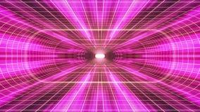 In uit vlucht door VR-van de de lichten cyber tunnel van het neon de GELE net PURPERE van de de interfacemotie van HUD achtergron royalty-vrije illustratie