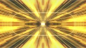 In uit vlucht door VR-van de de lichten cyber tunnel van het neon de GROENE net GELE van de de interfacemotie van HUD achtergrond stock illustratie