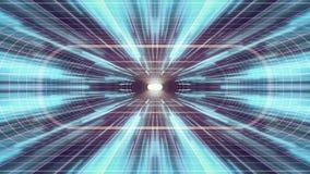 In uit vlucht door VR-van de de lichten cyber tunnel van het neon de Purpere net Blauwe van de de interfacemotie van HUD achtergr vector illustratie