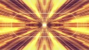 In uit vlucht door VR-van de de lichten cyber tunnel van het neon de Purpere net Gele van de de interfacemotie van HUD achtergron vector illustratie