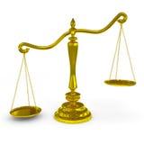 Uit zijn evenwicht gebrachte gouden schalen. Stock Foto's