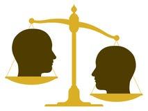 Uit zijn evenwicht gebrachte schaal met twee hoofden Stock Fotografie