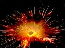 Uitbarsting van Voetzoeker Stock Foto