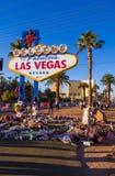 Uitdrukking van deelneming bij het teken van Las Vegas na Verschrikkingsaanval - LAS VEGAS - NEVADA - OKTOBER 12, 2017 Royalty-vrije Stock Afbeeldingen