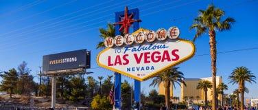 Uitdrukking van deelneming bij het teken van Las Vegas na Verschrikkingsaanval - LAS VEGAS - NEVADA - OKTOBER 12, 2017 Stock Foto's
