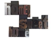 Uitdrukking van het huis de zoete huis in letterzetseltype Stock Afbeelding