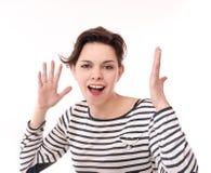 Uitdrukkingen van een vrouw. Stock Foto