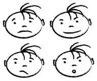 Uitdrukkingen van jongen Vector Illustratie
