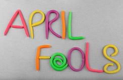 Uitdrukkings` April dwazen ` van plasticine worden gemaakt die royalty-vrije stock afbeelding