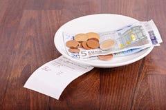 Uiteinde op een restaurantlijst Stock Fotografie