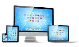 Uiteindelijk Webontwerp, laptop, smartphone, tablet Stock Fotografie
