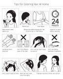 Uiteinden en Voorzorgsmaatregelen v3o3or gebruik Haarverf voor het Kleuren van Eigen Zwart-wit Haar thuis, royalty-vrije illustratie