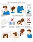 Uiteinden en Voorzorgsmaatregelen v3o3or gebruik Haarverf voor thuis het Kleuren van Eigen Haar stock illustratie