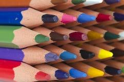 Uiteinden van kleurenpotloden Royalty-vrije Stock Afbeelding