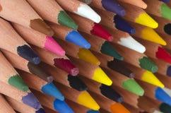 Uiteinden van kleurenpotloden Royalty-vrije Stock Afbeeldingen