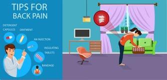Uiteinden voor Rugpijn voor Vrouwen Vector illustratie stock illustratie