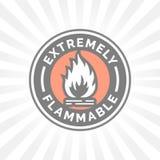 Uiterst brandbaar pictogram Brandgevaarteken Het symbool van de voorzichtigheidsvlam royalty-vrije illustratie