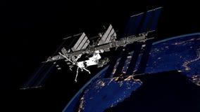 Uiterst gedetailleerd en realistisch hoge resolutie 3D beeld van een satelliet cirkelende Aarde Geschoten van ruimte Stock Afbeelding
