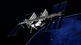 Uiterst gedetailleerd en realistisch hoge resolutie 3D beeld van ISS - Internationale Ruimtestation cirkelende Aarde Geschoten va Stock Afbeelding