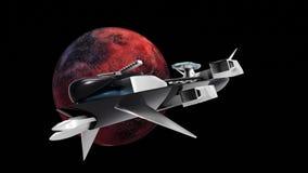 Uiterst gedetailleerde en realistische hoge resolutie 3D illustratie van een ruimteschip die van een Exoplanet door ruimte vliege royalty-vrije illustratie