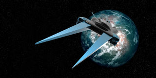 Uiterst gedetailleerde en realistische hoge resolutie 3D illustratie van een ruimteschip die van een Exoplanet door ruimte vliege stock illustratie