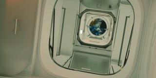 Uiterst gedetailleerde en realistische hoge resolutie 3D illustratie van het binnenland van Internationaal Ruimtestation Elemente vector illustratie