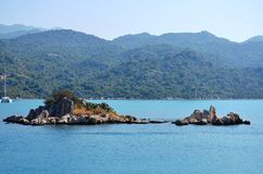 uiterst klein eiland in Mediterrane Marmaris, Stock Fotografie