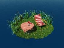 Uiterst klein eiland met ligstoel en lijst Royalty-vrije Illustratie